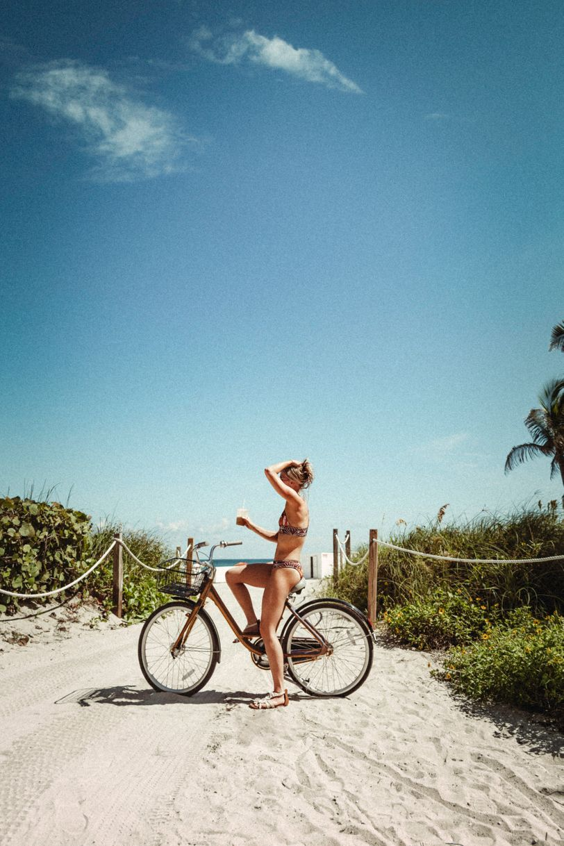 Bike ride in a bikini along South Beach, Miami
